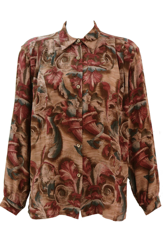 Vintage 90's Pleat Fronted Blouse with Purple & Brown Rococo Pattern - M/L
