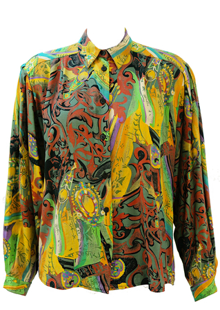 Vintage 90's Multicoloured Blouse with Abstract Rococo Print - M/L