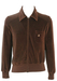 Brown Velour Track Jacket with Ribbed Shoulder Detail - S/M
