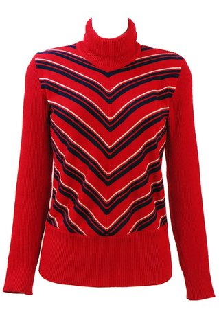 Vintage 70's Red Polo Neck Jumper with Navy & White Chevron Stripes - S/M
