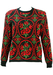 Charcoal Grey Wool Jumper with Green & Red Floral Pattern - S/M