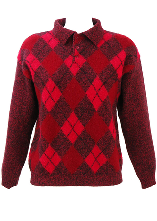 Red, Burgundy & Black Argyle Patterned Shetland Wool Jumper - M