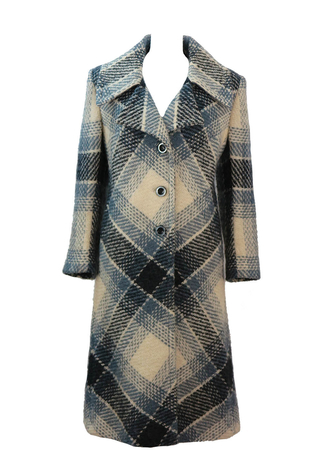 Grey & Cream Check Long Wool Coat with Large Collar Detail - M
