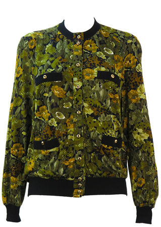 Green Abstract Floral Patterned Cardigan with Gold Buttons & Pockets - M/L