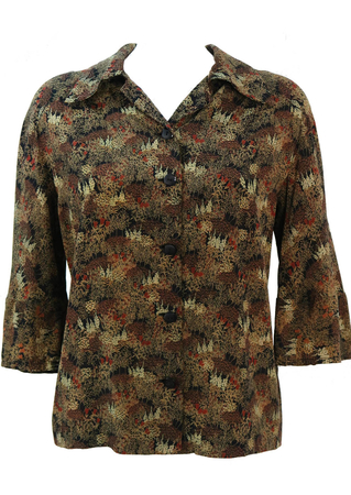 Vintage 60's Blouse with Forest-like Pattern in Green, Russet & Black - M/L