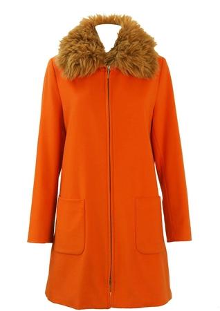 GianFranco Ferre Orange Wool Coat with Faux Fur Collar - M