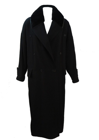 Gianni Versace Black Oversized Full Length Coat with Shearling Collar - M/L