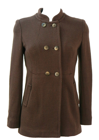 Round Neck, Double Breasted Brown Knit Jacket -XS/S