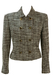 Les Copains Cropped, Double Breasted Jacket with a Brown & White Textured Check - S/M