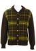 Shetland Wool Brown Cardigan with a Green & Yellow Tartan Pattern - M/L