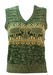 Woodland Green & Camel Tank Top with Nordic Style Stag Pattern - S