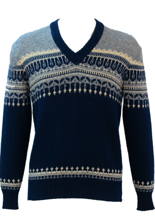 V Neck Wool Jumper with Navy Blue, Grey & Cream Nordic Pattern - M