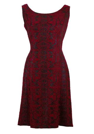 Vintage 1950's Brocade Party Dress - M