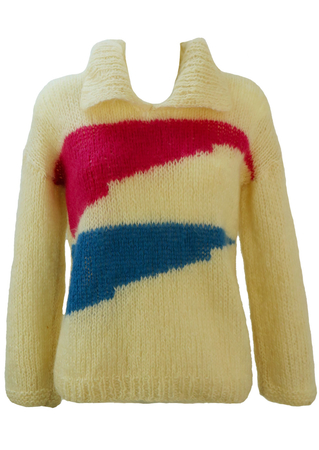 Loose Knit Cream Jumper with Hot Pink & Blue Pattern - M