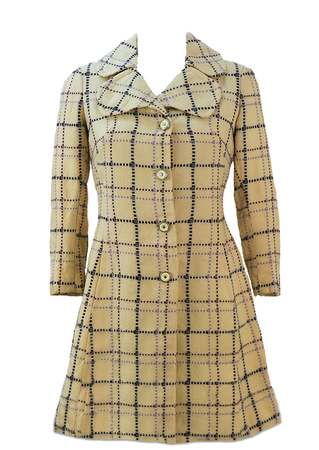 Vintage 1960's Cream Coat with Navy, Purple and Lilac Check - S