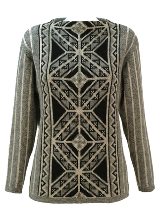 Pure Wool Nordic Jumper with Intricate Grey, Cream and Black Pattern - S