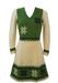 Woollen Skater Dress in Cream & Green with Snowflake Pattern - S