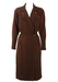 Brown Wrap Front Midi Length Wool Dress with Pointed Collar - M