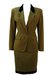 Kenzo Two Piece Jacket & Skirt Suit in Mottled Green with Black Velvet Trim - S