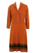 Knitted Russet Dress with Contrasting Brown Trim - L