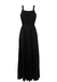 Vintage 70's Black Strappy Maxi Dress with Pleat Detail - S/M