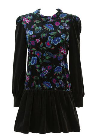 Vintage 80's Black Velvet Mini Dress with Drop Waist & Vivid Floral Print - M