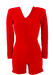 Red Velour Zip Front Playsuit - S