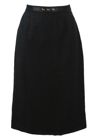 Charcoal Grey Wool Midi Pencil Skirt with Gold Dog Motif - S
