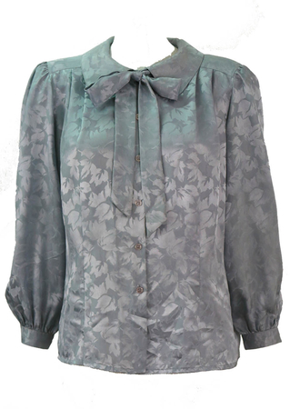Silver Grey Blouse with Satin Sheen Leaf Pattern & Pussy Bow - L