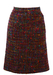 Multi Coloured Tweed Knee Length Skirt with Neon Highlights - S/M