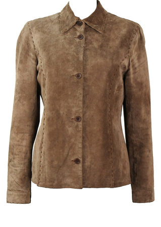 Light Camel Coloured, Lined Suede Shirt with Decorative Stitch Detail - M