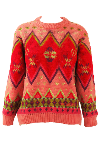 Chunky Knit Zig Zag Patterned Jumper in Pink & Red - S/M