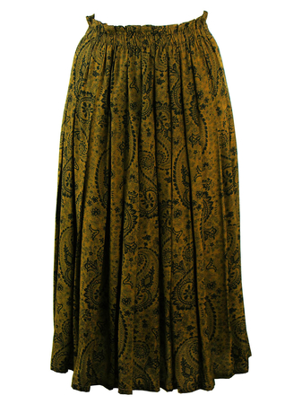 Olive Green Pleated Skirt with Paisley Design - S