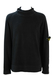 Vintage 90's Stone Island Black Jumper with Double Layered Collar Detail - M/L