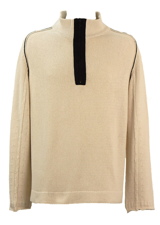 Stone Island Cream Knitted Jumper with Black Contrasting Panels - XL/XXL