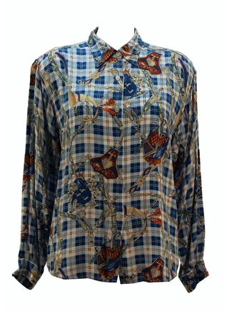 Vintage 90's Oversized Blue Check Equestrian & Heraldic Print Blouse - M/L
