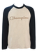 Champion Long Sleeved Grey T-Shirt with Navy Sleeves & Embroidered Logo - M/L