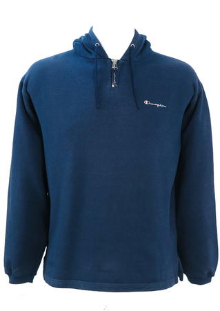 Blue Champion Hoody with Zip Neck and Sleeve Motif - S/M