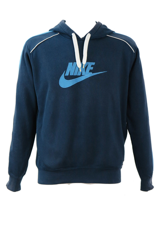 Nike Navy Blue Hoody with Light Blue Logo & Arm Stripe - M