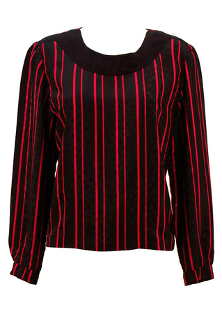 Vintage 80's Silky Black & Pink Striped Top - M/L