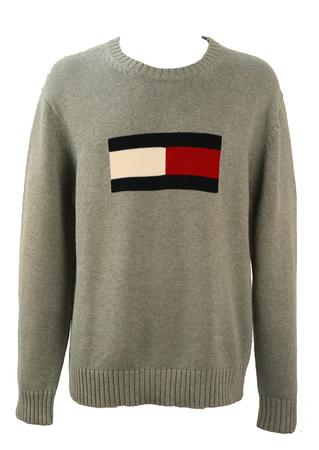 Tommy Hilfiger Grey Knit Jumper with Large Logo - XL