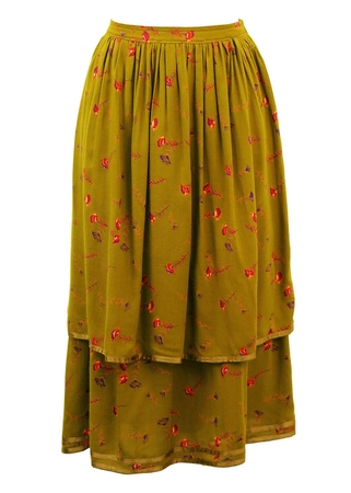 Green Tiered Skirt with Red & Purple Floral Print - S