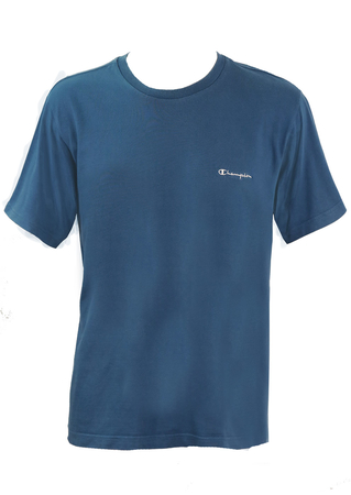 Mid Blue Champion T-Shirt with Embroidered Logo - M/L