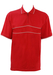Red Champion Polo Shirt with Zip Neck and Grey Trim - L