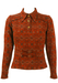 Vintage 60's Russet Patterned Top with Belted Detail - S