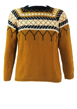 Ochre, Black & White Nordic Square Neck Knit Jumper - XS/S