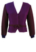 Purple Cropped Wool Jacket with Burgundy & Purple Check Weave Pattern  - S