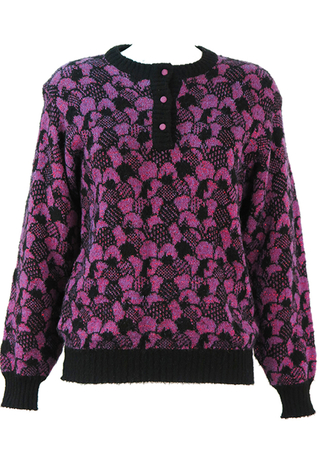 Purple & Black Patterned Knit Jumper with Red Metallic Threads - M