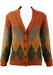 Part Alpaca Knitted Cardigan with Russet, Green & Ochre Argyle Pattern - M/L
