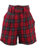 Red & Grey Tartan High Waisted Shorts with Belt - S